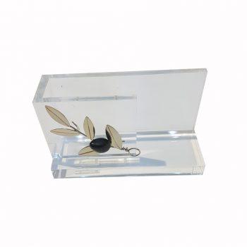Θήκη Για Κάρτες Κλαδί Ελιάς Σε Πλεξιγκλάς Χειροποίητο ΔΣ1155