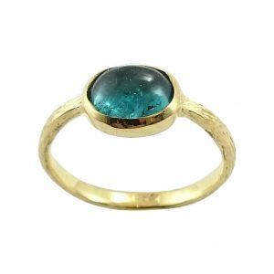 Δαχτυλίδι Κ18 Χρυσό Χειροποίητο με Τουρμαλίνα Acqua ΔΟ10685