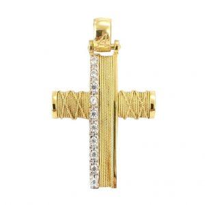 Σταυρός Βαπτιστικός Χρυσός Με Σύρματα Και Ζιργκόν Κ14 ΣΟ30117