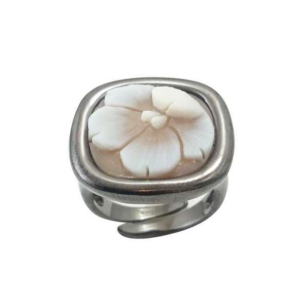 Δαχτυλίδι Cameo Italiano Με Ανάγλυφη Παράσταση Λουλούδι ΚΙ5500
