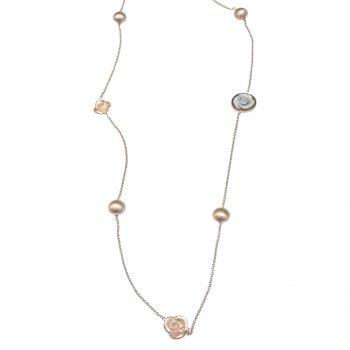 Κολιέ Cameo Italiano Ροζ Επιχρυσωμένο Με Συνθετικές Πέτρες ΚΚ5015