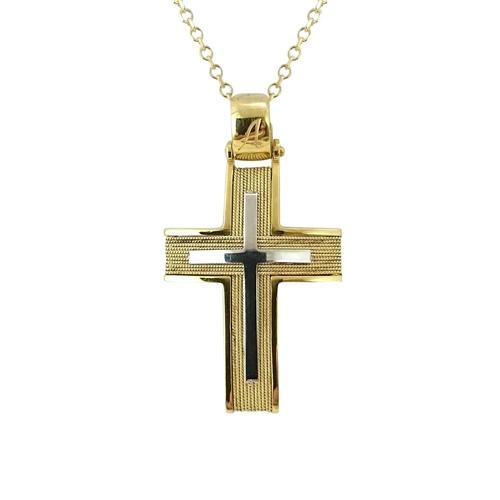 Σταυρός Βαπτιστικός Δίχρωμος K14 ΣΟ19002