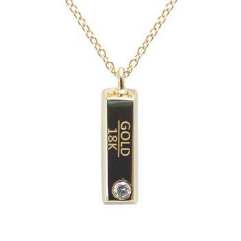 Κολιέ Κ18 Πλάκα Χρυσού Με Μπριγιάν ΚΟ09527