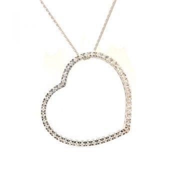 Κολιέ Λευκόχρυσο Κ18 Καρδιά Με Μπριγιάν 0,58ct ΚΟ09905