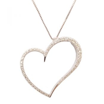 Κολιέ Λευκόχρυσο Κ18 Καρδιά Με Μπριγιάν 0,68ct ΚΟ09900