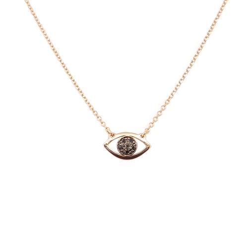 Κολιέ Ροζ Χρυσό Μάτι Με Μαύρα Διαμάντια 0.020ct ΚΟ09025