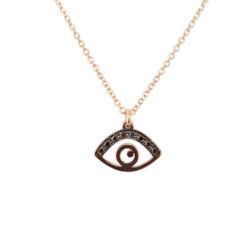 Κολιέ Ροζ Χρυσό Μάτι Με Μαύρα Διαμάντια 0.025ct ΚΟ09030