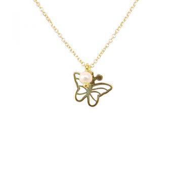 Κολιέ Χρυσό K14 Πεταλούδα Με Μαργαριτάρι ΚΟ09505