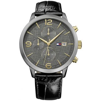 Tommy Hilfiger Liam Black Leather Strap 1710357