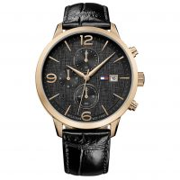 Tommy Hilfiger Liam Black Leather Strap 1710358
