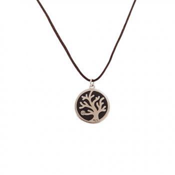 Γούρι Δέντρο Της Ζωής Κολιέ Επιπλατινωμένο Με Κορδόνι ΓΧ5015