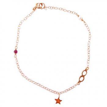 Βραχιόλι Ροζ Χρυσό Κ14 Άπειρο Με Γρανάδα ΒΟ10175