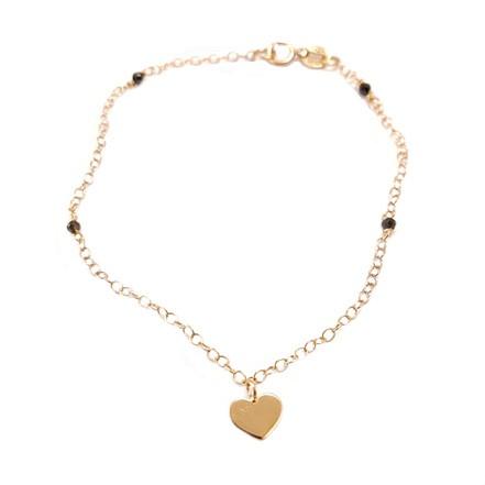 Βραχιόλι Ροζ Χρυσό Κ14 Καρδιά Με Όνυχα ΒΟ10165