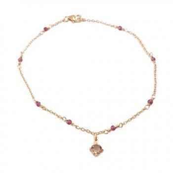Βραχιόλι Ροζ Χρυσό Κ14 Με Τουρμαλίνες ΒΟ10180 (2)