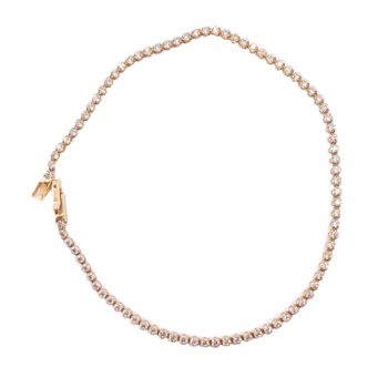 Βραχιόλι Ροζ Χρυσό Κ14 Ριβιέρα Με Λευκά Ζιργκόν ΒΟ10035