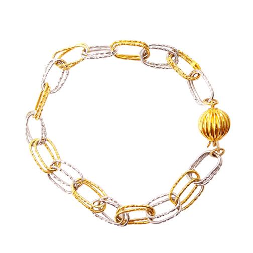 Βραχιόλι Χρυσό Και Λευκόχρυσο Κ14 Με Κρίκους ΒΟ10007