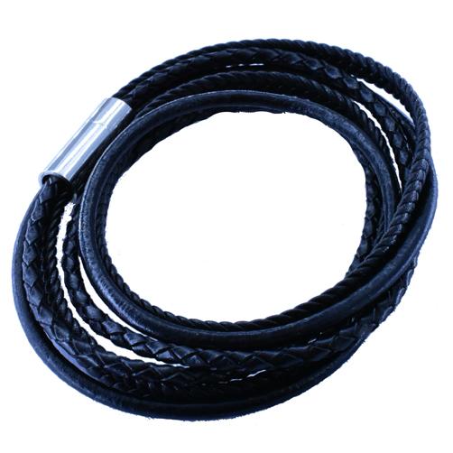 Βραχιόλι Ατσάλινο Ανδρικό Δερμάτινο Μαύρο ΒΑ5010