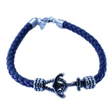 Βραχιόλι Ατσάλινο Ανδρικό Δερμάτινο Μπλε ΒΑ5020 a
