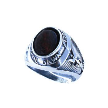 Δαχτυλίδι Ασημένιο Με Καφέ Αχάτη ΔΟ60045