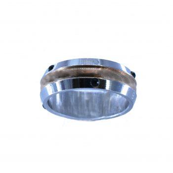 Δαχτυλίδι Ατσάλινο Λευκό Με Μαύρα Ζιργκόν ΔΟ55010