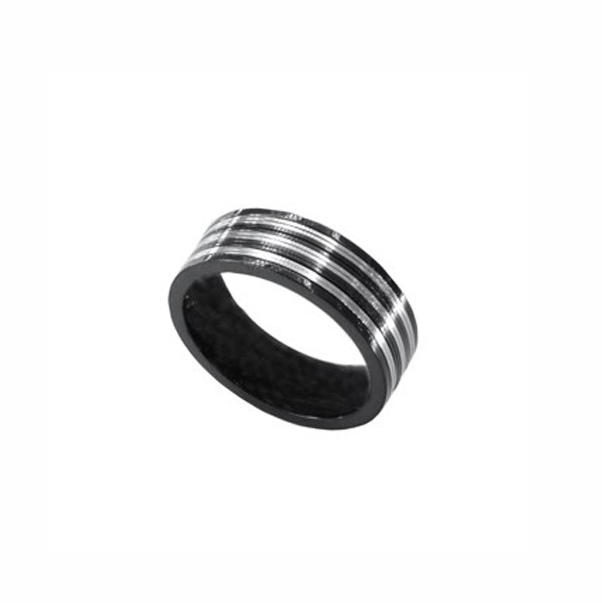 Δαχτυλίδι Ατσάλινο Μαύρο Επιπλατινωμένο ΔΟ55005