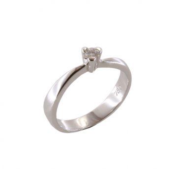 Δαχτυλίδι Μονόπετρο Λευκόχρυσο Κ18 Με Μπριγιάν 0.06ct ΔΟ70000