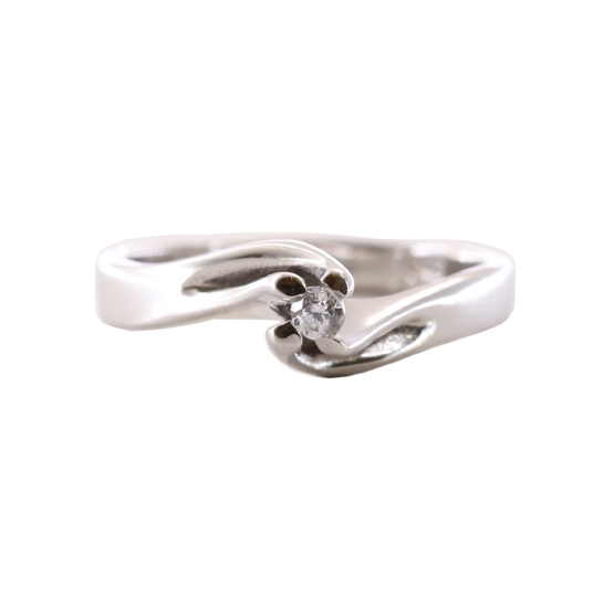 Δαχτυλίδι Μονόπετρο Λευκόχρυσο Κ18 Με Μπριγιάν 0.08ct ΔΟ70005 0477909cb44