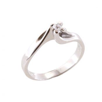 Δαχτυλίδι Μονόπετρο Λευκόχρυσο Κ18 Με Μπριγιάν 0.08ct ΔΟ70005