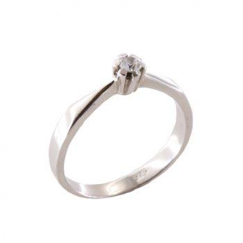 Δαχτυλίδι Μονόπετρο Λευκόχρυσο Κ18 Με Μπριγιάν 0.09ct ΔΟ70007