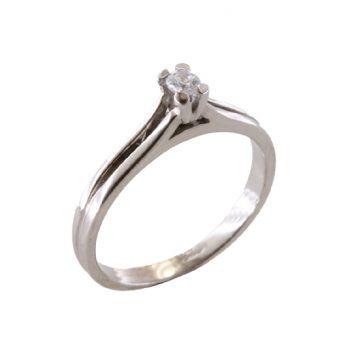 Δαχτυλίδι Μονόπετρο Λευκόχρυσο Κ18 Με Μπριγιάν 0.10ct ΔΟ70010
