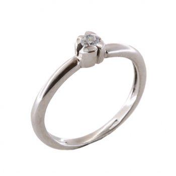 Δαχτυλίδι Μονόπετρο Λευκόχρυσο Κ18 Με Μπριγιάν 0.10ct ΔΟ70015