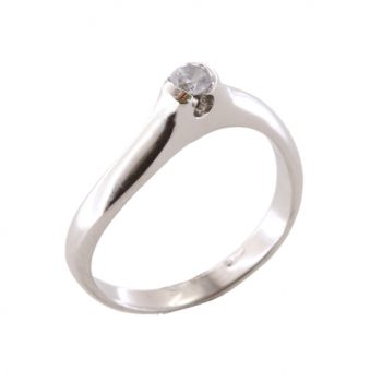 Δαχτυλίδι Μονόπετρο Λευκόχρυσο Κ18 Με Μπριγιάν 0.12ct ΔΟ70012