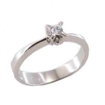 Δαχτυλίδι Μονόπετρο Λευκόχρυσο Κ18 Με Μπριγιάν 0.13ct ΔΟ70014