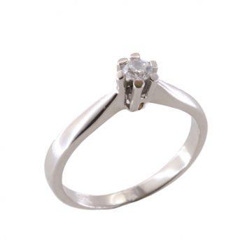 Δαχτυλίδι Μονόπετρο Λευκόχρυσο Κ18 Με Μπριγιάν 0.15ct ΔΟ70020