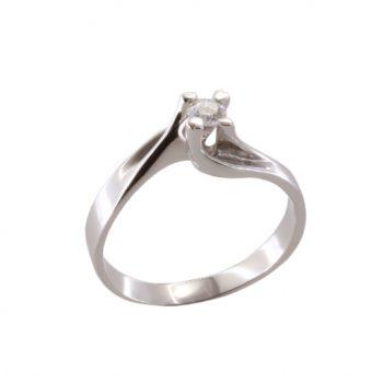Δαχτυλίδι Μονόπετρο Λευκόχρυσο Κ18 Με Μπριγιάν 0.15ct ΔΟ70025