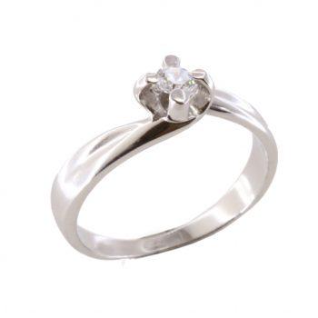 Δαχτυλίδι Μονόπετρο Λευκόχρυσο Κ18 Με Μπριγιάν 0.18ct ΔΟ70030