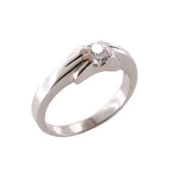 Δαχτυλίδι Μονόπετρο Λευκόχρυσο Κ18 Με Μπριγιάν 0.18ct ΔΟ70035