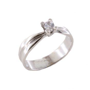 Δαχτυλίδι Μονόπετρο Λευκόχρυσο Κ18 Με Μπριγιάν 0.20ct ΔΟ70040