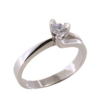 Δαχτυλίδι Μονόπετρο Λευκόχρυσο Κ18 Με Μπριγιάν 0.22ct ΔΟ70052