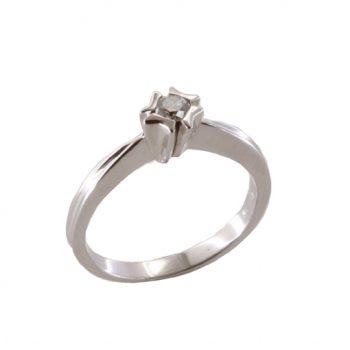 Δαχτυλίδι Μονόπετρο Λευκόχρυσο Κ18 Με Μπριγιάν 0.25ct ΔΟ70055
