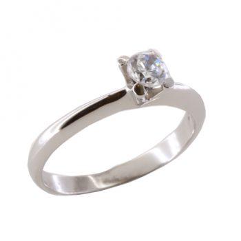 Δαχτυλίδι Μονόπετρο Λευκόχρυσο Κ18 Με Μπριγιάν 0.35ct ΔΟ70070
