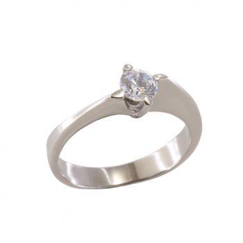 Δαχτυλίδι Μονόπετρο Λευκόχρυσο Κ18 Με Μπριγιάν 0.35ct ΔΟ70075