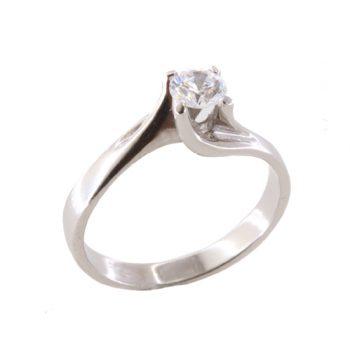 Δαχτυλίδι Μονόπετρο Λευκόχρυσο Κ18 Με Μπριγιάν 0.49ct ΔΟ70090
