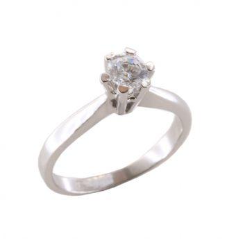 Δαχτυλίδι Μονόπετρο Λευκόχρυσο Κ18 Με Μπριγιάν 0.55ct ΔΟ70095