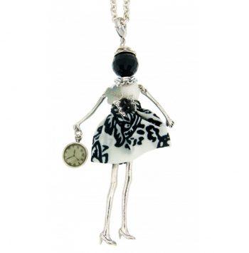 Κολιέ Le Carose Επιπλατινωμένη Κούκλα Μαύρη-Άσπρη ΚΟ90100