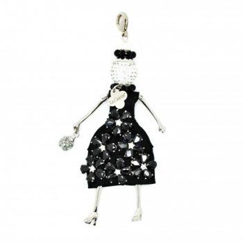 Κολιέ Le Carose Κούκλα Μαύρη Με Ζιργκόν ΚΟ90015