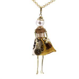 Κολιέ Le Carose Επίχρυσο Κούκλα Με Πέρλα ΚΟ90110