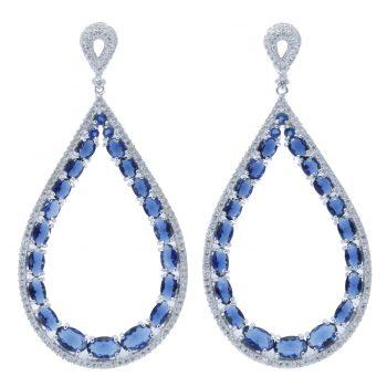 Σκουλαρίκια Ασημένια Με Μπλε Ζιργκόν ΣΚ40500