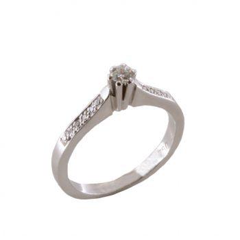 Δαχτυλίδι Μονόπετρο Λευκόχρυσο Κ18 Με Μπριγιάν 0.13ct ΔΟ70018