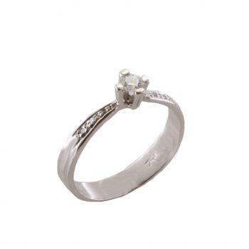 Δαχτυλίδι Μονόπετρο Λευκόχρυσο Κ18 Με Μπριγιάν 0.15ct ΔΟ70022